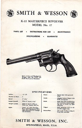 S&W K-22 Masterpiece Model No. 17