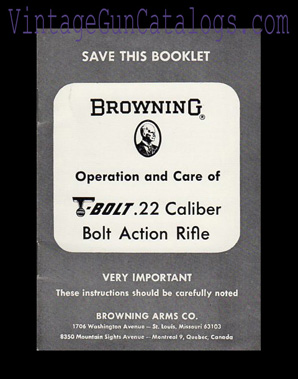 1960's Browning T-Bolt Manual