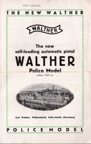 1930 The New Walther Police Pistol Adv.Folder