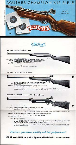 Ca.1960's Walther Air Rifles Folder