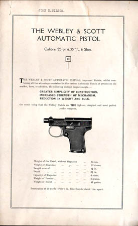 "Webley & Scott "".25 Automatic Pistol"" Instructions"