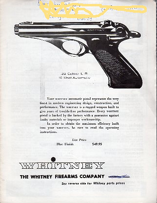 Whitney Automatic Pistol Instructions