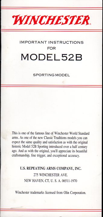1993 Winchester Model 52B Inst.Manual