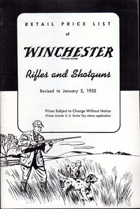 1952 Winchester Catalog/Price list