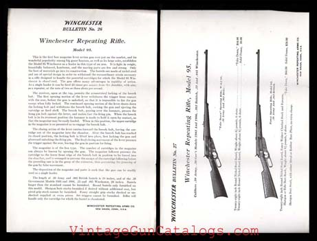 1910-1915 Winchester Model 95 Repeating Rifle Bulletins