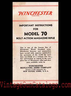 1940's Winchester Model 70 Manual