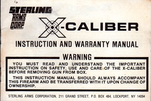 1981 Sterling Arms X-Caliber Manual